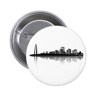 St. Louis Skyline Button (b/w)