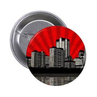 St. Louis Skyline Button (red - detail)