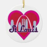 St Louis Skyline Heart Ceramic Ornament