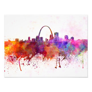 St Louis skyline in watercolor background Fotografía