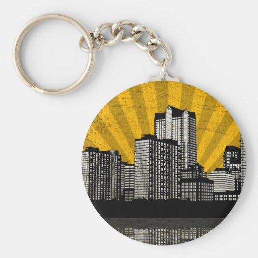 St. Louis Skyline Keychain (yellow - detail)