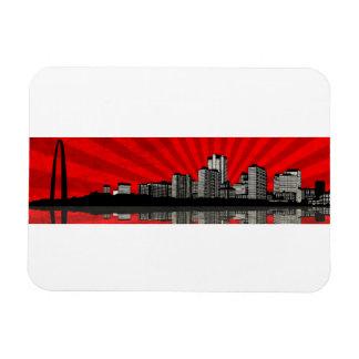 St Louis Skyline Magnet red