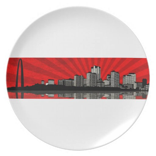 St. Louis Skyline Plate (red)