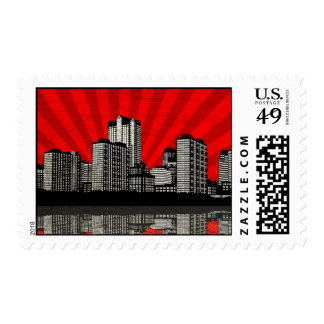 St. Louis Skyline Postage Stamps (red - detail)