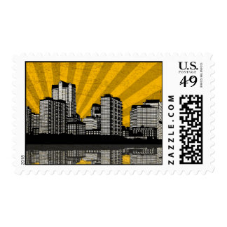 St. Louis Skyline Postage Stamps (yellow - detail)