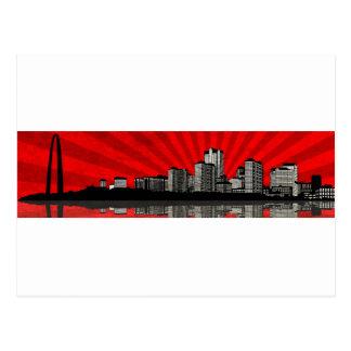St. Louis Skyline Postcard (red)