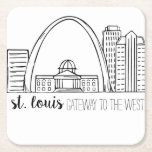 """St. Louis Skyline Square Paper Coaster<br><div class=""""desc"""">St. Louis Skyline Drawing. This is an original drawing that has been scanned and cleaned up for reproduction.</div>"""