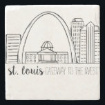 "St. Louis Skyline Stone Coaster<br><div class=""desc"">St. Louis Skyline Drawing. This is an original drawing that has been scanned and cleaned up for reproduction.</div>"