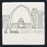"""St. Louis Skyline Stone Coaster<br><div class=""""desc"""">St. Louis Skyline Drawing. This is an original drawing that has been scanned and cleaned up for reproduction.</div>"""