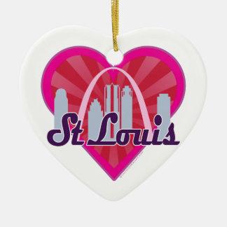 St Louis Skyline Sunburst Heart Ceramic Ornament