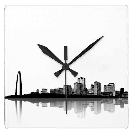 St. Louis Skyline Wall Clock (b/w)