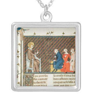 St. Louis teaching his children Square Pendant Necklace