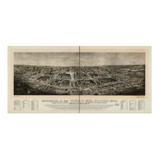 St. Louis World's Fair 1904 Antique Panoramic Map Posters