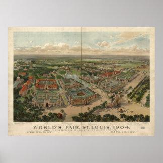 St. Louis World's Fair 1904 Antique Panoramic Map Print