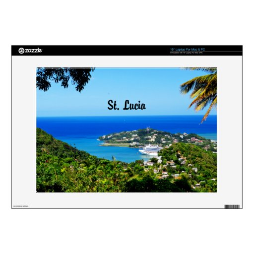 """St. Lucia Decal For 15"""" Laptop"""