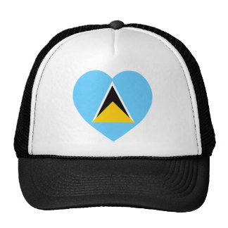 St Lucia Flag Heart Mesh Hats