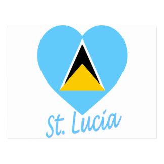 St Lucia Flag Heart Postcard
