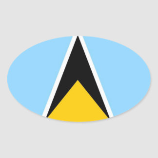 St. Lucia Flag Oval Sticker