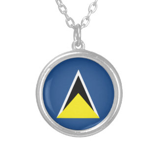 St. Lucia Flag Silver Plated Necklace