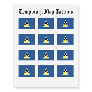 St. Lucia Flag Temporary Tattoos