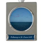 St. Lucia Horizon Blue Ocean Silver Plated Banner Ornament
