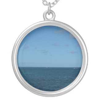 St. Lucia Horizon Blue Ocean Silver Plated Necklace