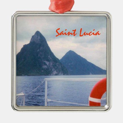 St Lucia Pitons Custom Ornament