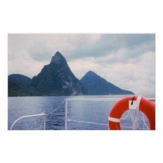 St. Lucia Pitons from the Sea Poster