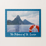 """St. Lucia Pitons from the Sea Puzzle<br><div class=""""desc"""">A view from a boat of clouds moving in,  as St. Lucia&#39;s famous twin peaks,  the Pitons,  rise out of the Caribbean Sea.</div>"""