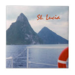 "St. Lucia Pitons from the Sea Tile<br><div class=""desc"">A view from a boat of clouds moving in,  as St. Lucia&#39;s famous twin peaks,  the Pitons,  rise out of the Caribbean Sea.</div>"