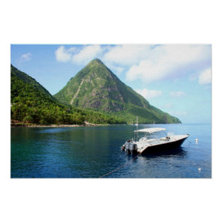 St Lucia Pitons Poster