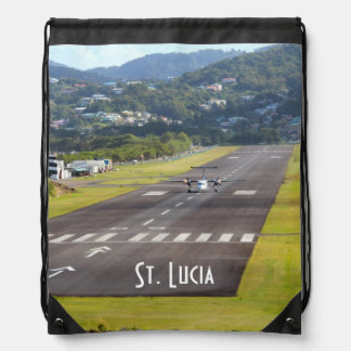 St. Lucia Plane and Airstrip photo Drawstring Backpack