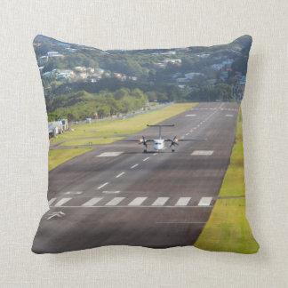 St. Lucia Plane and Airstrip photo Throw Pillow