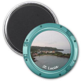St Lucia Porthole 2 Inch Round Magnet