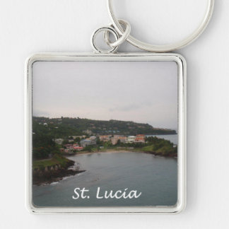 St Lucia View Silver-Colored Square Keychain