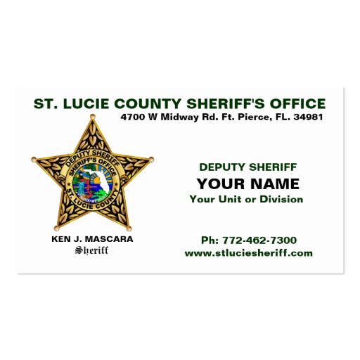 St Lucie County Sheriff Business Card Zazzle