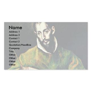 St Luke como pintor por el EL de Greco Plantillas De Tarjeta De Negocio
