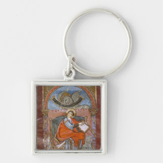 St. Luke, from the Gospel of St. Riquier Silver-Colored Square Keychain