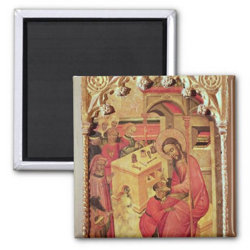 St. Luke Operating on a Man's Head, c.1400-30 2 Inch Square Magnet