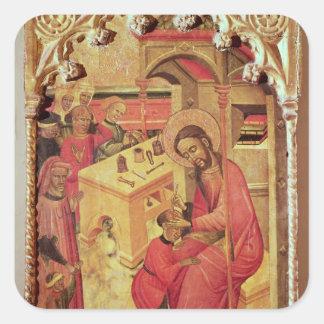 St. Luke Operating on a Man's Head, c.1400-30 Square Sticker