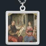 "St. Luke Painting the Virgin, c.1545 Silver Plated Necklace<br><div class=""desc"">St. Luke Painting the Virgin,  c.1545   by Maerten van Heemskerck   Art Location: Musee des Beaux-Arts,  Rennes,  France   Dutch Artist   Image Collection Number: XIR75756</div>"