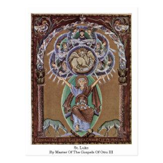 St Luke por el amo de los evangelios de Otto Iii. Tarjetas Postales