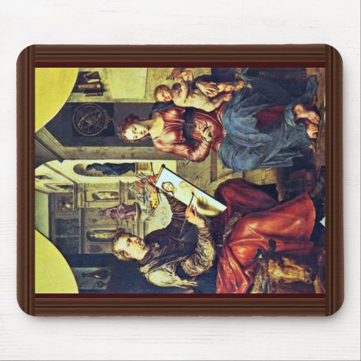 St Luke que pinta a la Virgen de Marten Van Heemsk Alfombrillas De Raton