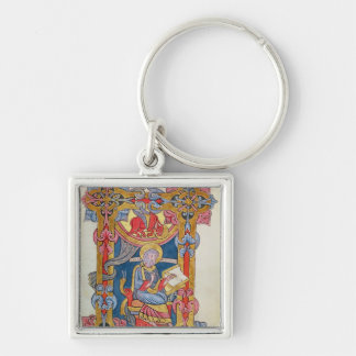 St. Luke Silver-Colored Square Keychain