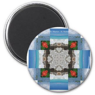 St. Maarten - St. Martin Kaleidoscope 2 Inch Round Magnet
