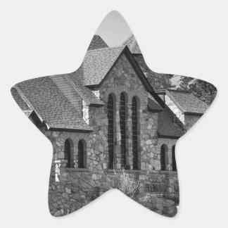 St Malo Chapel On the Rock Colorado BW Star Sticker
