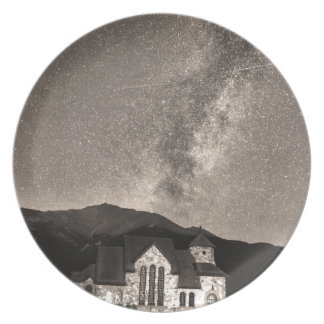 St Malo Miky Way Perseid Meteor Shower BW Sepia Dinner Plate