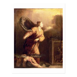 St Margaret al lado del diablo vencido (el panel) Tarjetas Postales