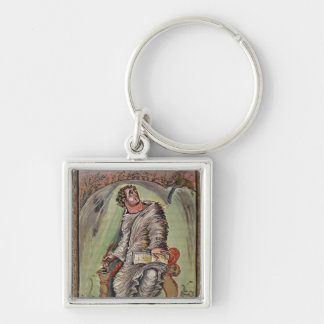 St. Mark at his desk Silver-Colored Square Keychain