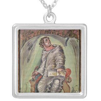 St. Mark at his desk Square Pendant Necklace